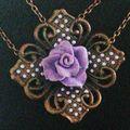 Collier ArtDéco au Coeur de Rose