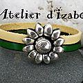Simplicité, efficacité, ce <b>bracelet</b> en cuir femme double rang jaune et vert, <b>fermoir</b> <b>aimanté</b> fleur tournesol, non !?
