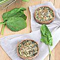 Tartelettes aux épinards, pleurotes & tofu soyeux...ig bas & vegan