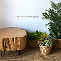 Une table rondin 60cm sur <b>hairpin</b> <b>legs</b>