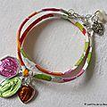 Bracelet Marie sur ruban fin Betsy orange