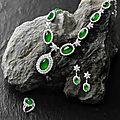 A Jadeite and Diamond <b>Necklace</b>, Earring and Ring Suite