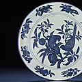 An important <b>and</b> extremely rare early Ming massive <b>blue</b> <b>and</b> <b>white</b> <b>charger</b>, Xuande six-character mark <b>and</b> of the period