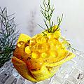<b>Iris</b> à la crème anchois + d'aneth - huile d'olive et perles au jus de citron