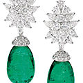 Pair of <b>emerald</b> and diamond ear clips