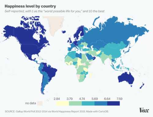 societé-Happiness level by country via World Happiness Report, 2015