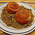 <b>Tomates</b> farcies au poulet au curry