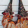 Boho sac broderie vintage, assemblage à la main - bohème chic - modèle unique - zippée - sac à main ou sac à dos