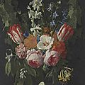 Nicolaes van veerendael (antwerp bapt. 1640-1691) a swag of tulips, peonies, carnations, narcissi and other flowers with a butte