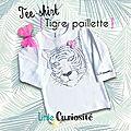 Tee-shirt [ Tigre paillette ] + Noeud crochet - Mode Textile Bébé