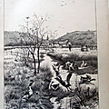 Chasse <b>chien</b> canard illustration ancienne sp50