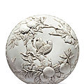 Carved biscuit porcelain box, Qing dynasty, mark and period of <b>Daoguang</b> (1821–1850)