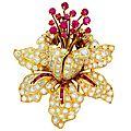 René Boivin, Diamond Ruby & Yellow Gold <b>Tremblant</b> <b>Brooch</b> Pin