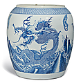 A large blue and white 'Dragon' jar, Kangxi period (1662-1722) or later