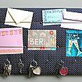 Porte-clés 35-50 bleu étoiles beiges