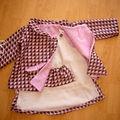 Manteau de laine doublé, robe en laine et lin, taille 2 ans