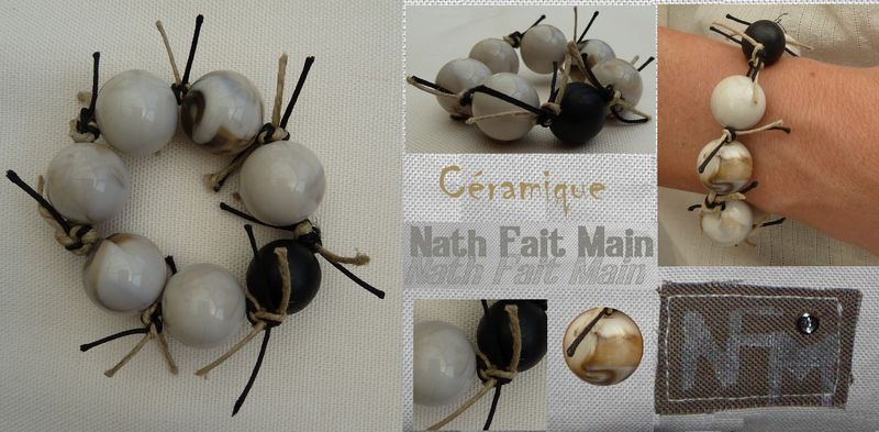 Bracelet perles céramiques beiges marbrées