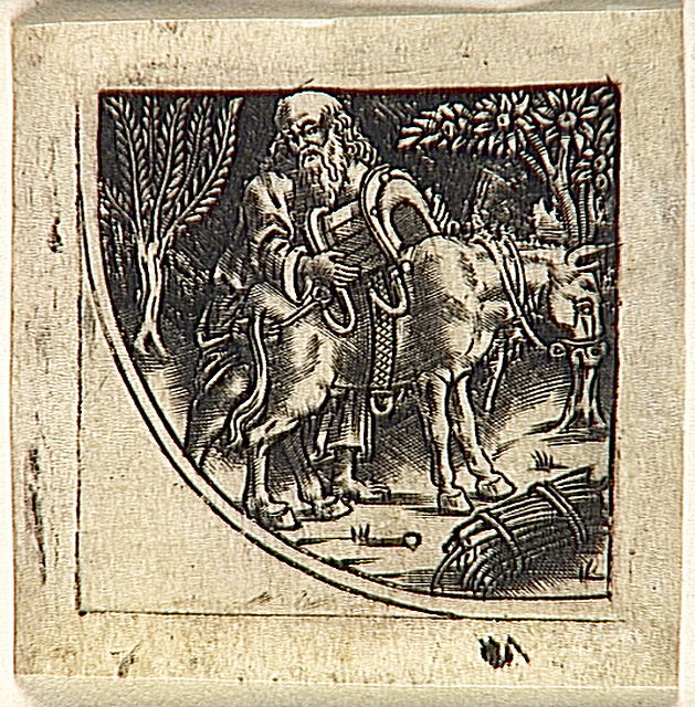 Abraham mettant un bât à son âne