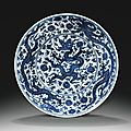 A blue <b>and</b> white 'dragon' dish, <b>Zhengde</b> <b>mark</b> <b>and</b> <b>period</b> (<b>1506</b>-<b>1521</b>)