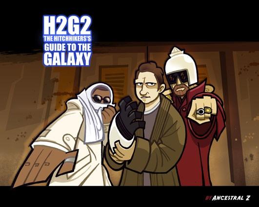 H2G2 Douglas adams hitchhiker's guide dessin picture