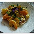 Crevettes sautées au curry, ananas frais, poivrons jaunes, carottes, courgette,crème allégée
