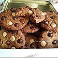 Cookies au sucre et beurre de coco aux trois chocolats