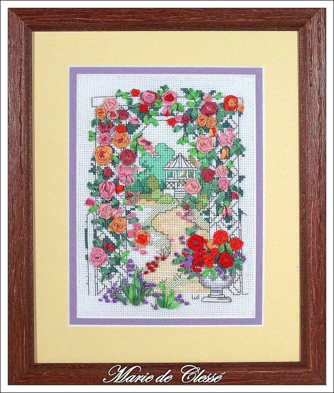 Broderie aux rubans Pergola aux roses 29,5x24cm