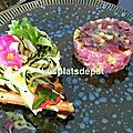 Tartare de thon, <b>gaufre</b> et salade de courgette