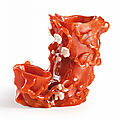 A rare and finely carved carnelian-agate '<b>Three</b> <b>Friends</b> <b>of</b> <b>Winter</b>' double vase, Qing dynasty, 18th century