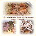 Cailles aux champignons à la sauce crème/moutardée