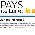 Donnez votre avis sur le Mag de la communauté de communes du Pays de <b>Lunel</b> !