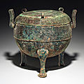 A large bronze ritual tripod food vessel and cover, ding, Spring and Autumn period, <b>6th</b> <b>century</b> <b>BC</b>