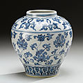A Ming blue and white '<b>Lotus</b>' jar, Ming dynasty, 15th-16th century