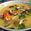 Soupe thailandaise lait de coco poulet/gingembre/ citronnelle....tom kha kaï