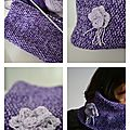 Snood point de riz & fleur crochet