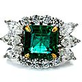 <b>Zambian</b> <b>emerald</b> and diamond ring
