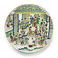 Important plat en porcelaine de la famille verte, dynastie qing, époque kangxi (1662-1722)