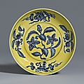 An underglaze-blue and yellow-enamel 'Gardenia' dish, Mark and period of Zhengde. Photo: Sotheby's.