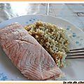 Pave de saumon au court-bouillon et ses perles de ble boulghour