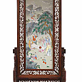 A rare and large famille rose porcelain plaque, <b>Daoguang</b> <b>period</b> (1821-1850)