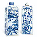 A pair of blue and white <b>gin</b> <b>bottle</b> and covers, Kangxi period (1662-1722)