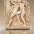 Roman relief sculpture, <b>Aphrodisias</b>, Turkey. Achilles supports the dying Amazon queen Penthesilea