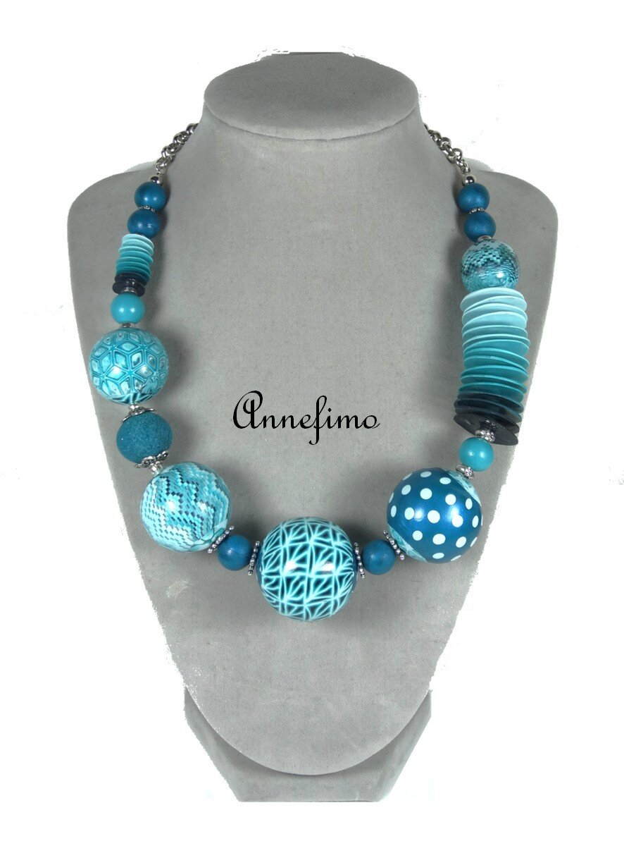 Collier grosses boules turquoise