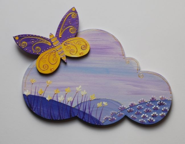 plaqque de porte papillon violet 1