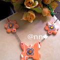 Collier FIMO cuivré papillon marbré orange