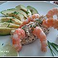 Avocat crevettes et sa mousse de crabe