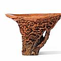 A very fine rhinoceros horn 'Yu Qiao Geng Du' libation cup, 17th-18th century