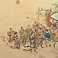 Rouleau peint par Zhang Weibang d'après Lu Huang, daté 1752, des anciennes collections impériales de l'Empereur <b>Qianlong</b>
