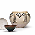 A Jian tea bowl, a Cizhou jar, and a <b>Ding</b>-<b>type</b> dish, Song Dynasty or later