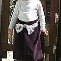 Jupe velours aubergine et tissu fleuri Dorothy 4 ans 3